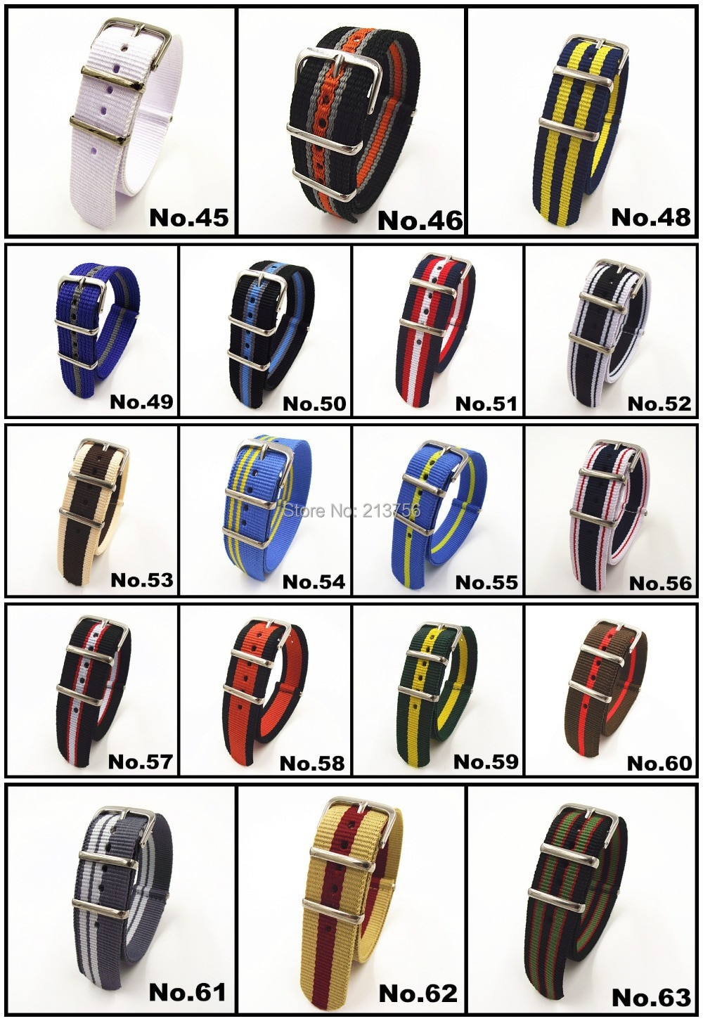 Wholesale 2000PCS/lots High quality 20MM Nylon Watch band NATO waterproof watch strap fashion wach band- 81 color available enlarge