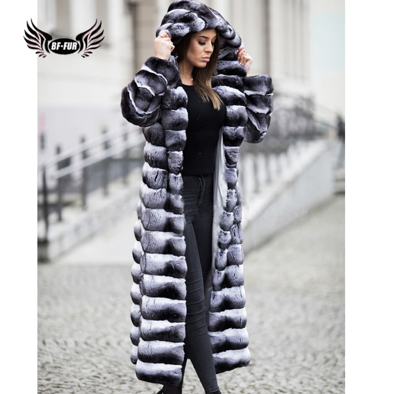 children whole real rabbit fur coat autumn winter warm long boys fur coat v neck thicker warmer clothes natural casual coatscn 1 Thick Warm Real Rabbit Fur Jacket For Women Winter X-Long Natural Rex Rabbit Fur Whole Skin Fur Coat Oversize Coat With Hood