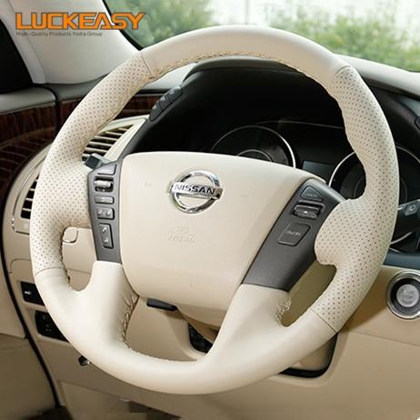 Beige de cuero genuino cosido a mano protector para volante de coche para Nissan patrulla y62