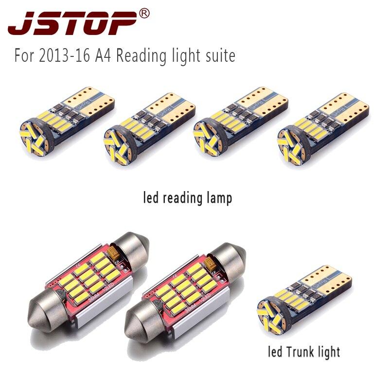 JSTOP 7 unid/set A4 2013-16 led Lámpara de lectura del coche canbus T10 luces de tronco W5W 12VAC bombillas de domo 36mm adorno c5w Luz de Lectura led