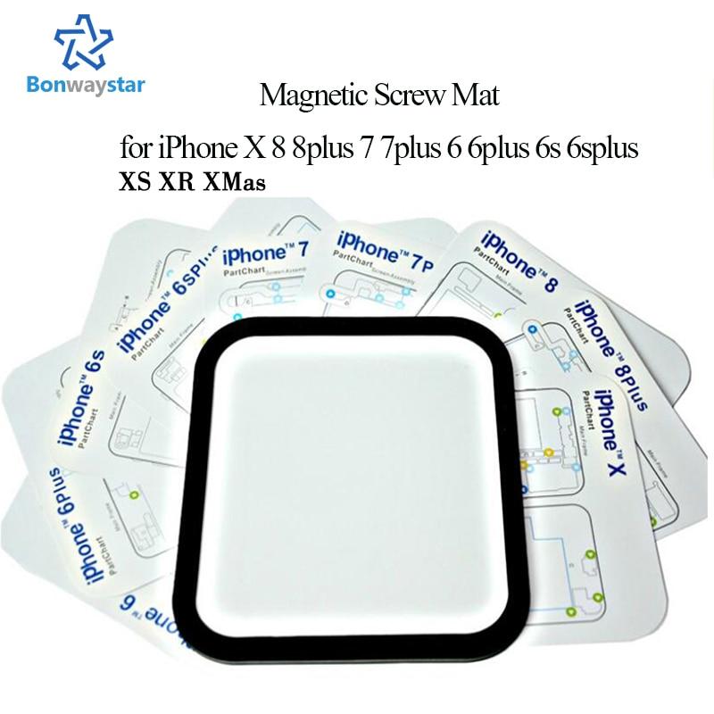 12 pçs/lote Magnética Gráfico Parafuso Mat para iphone X 8 8 plus 6 6 plus 6s 7 7 plus Placa Ferramentas de Reparo Profissional para absorver parafusos
