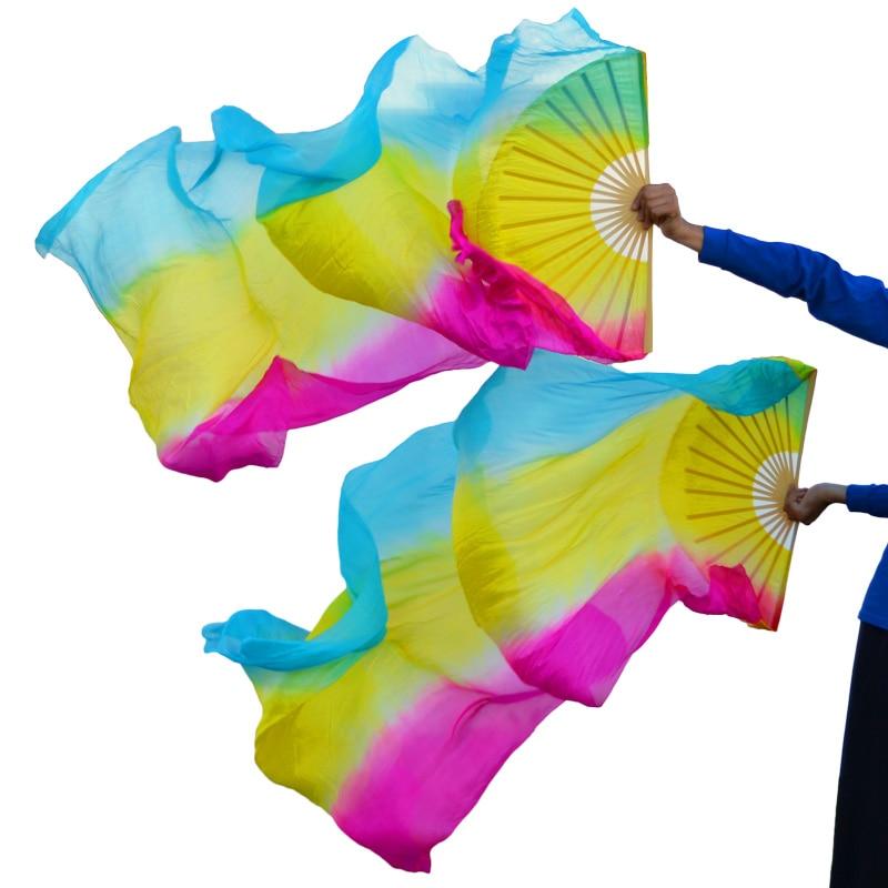 2019 High selling 100% Real Silk Veils 1 Pair handmade women Quality Silk Belly Dance Fan Dance turquoise+ yellow +rose stripe недорого