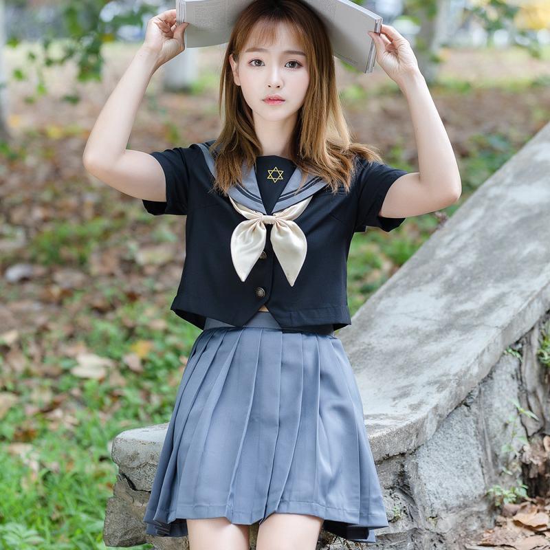 Nuevo uniforme ortodoxo traje de colegio chica escolar JK uniformes manga corta Tops Falda plisada marineros Niñas Ropa S-XXL
