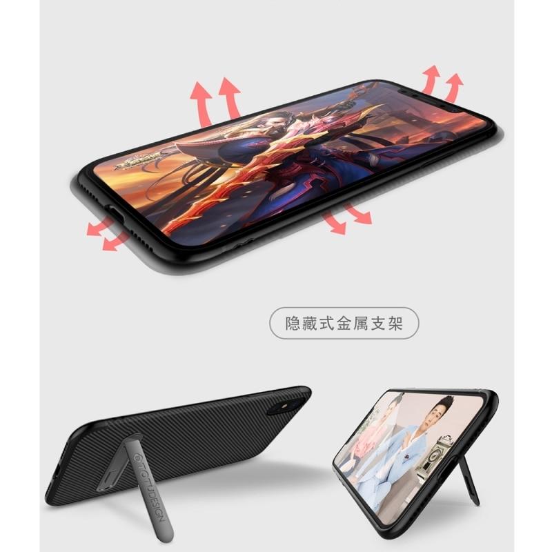 TOTUDESIGN para iPhone XS textura de fibra de carbono TPU antideslizante suave funda protectora trasera con soporte Invisible para iPhone X