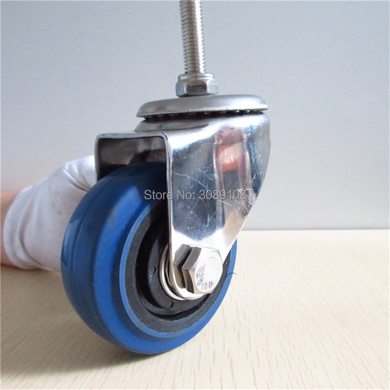 HOT 4 pcs 3 inch blue elastic rubber wheel castor stainless steel screw 10MM caster