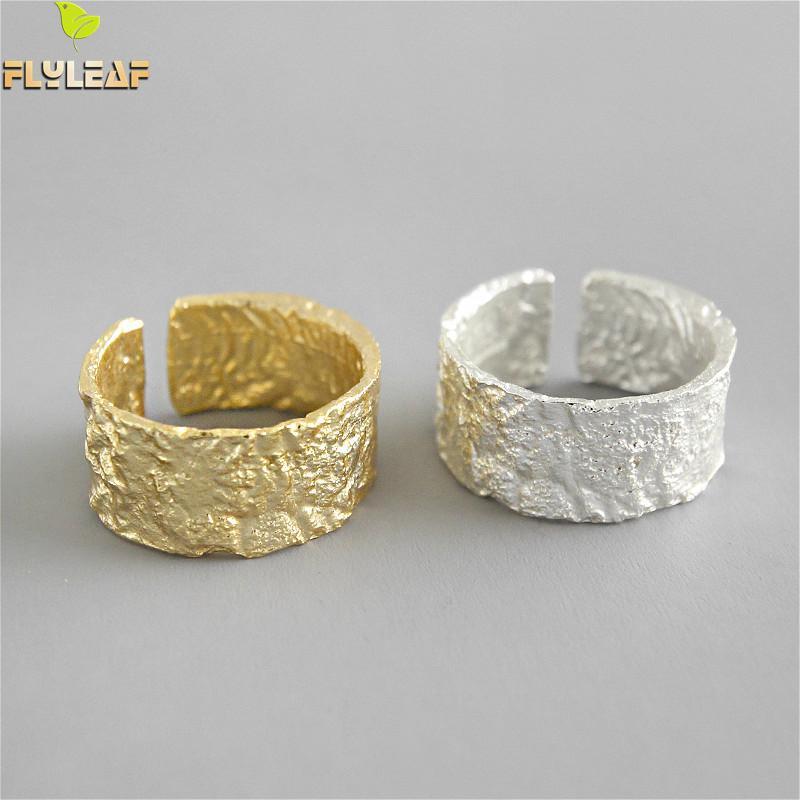 Flyleaf, anillos de plata de ley 925 para mujer, patrón Irregular de papel de aluminio, moda amplia, joyería fina, anillo abierto Simple de oro
