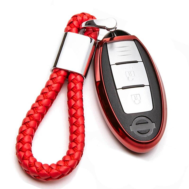 TPU Car Key Cover Case For Nissan Note Tiida Qashqai j10 J11 Micra K12 Juke Teana Leaf X Trail T31 Navara Murano Sunny Key ring