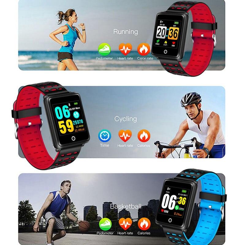 LIGE New Smart Sport Bracelet Men Fitness Tracker Pedometer Blood Pressure Heart Rate Monitor Waterproof Smart Watch Relogio