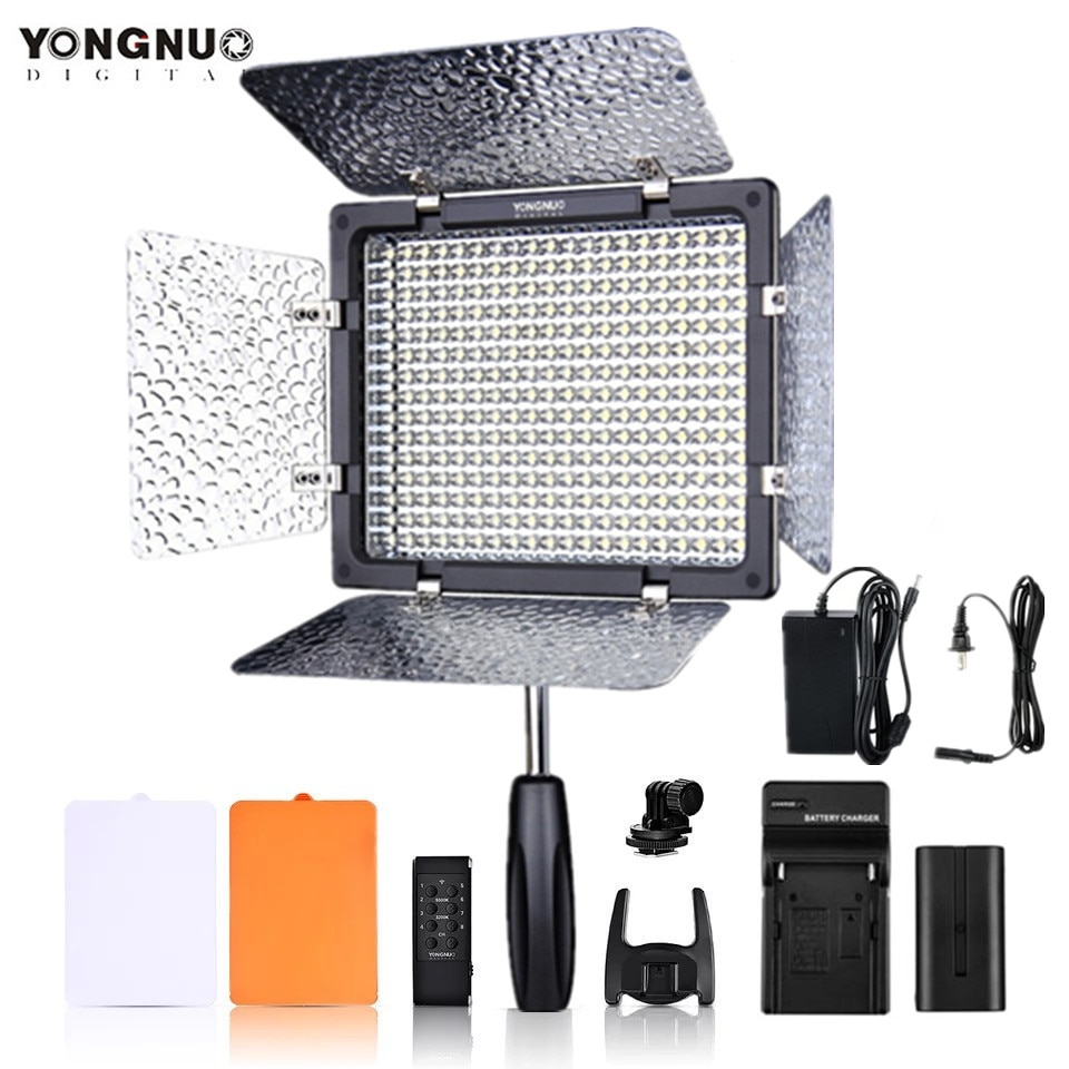 YONGNUO YN300III YN300 III YN-300III 3200k-5500K CRI95 foto de cámara luz LED para vídeo opcional con adaptador de corriente Ca + KIT de batería