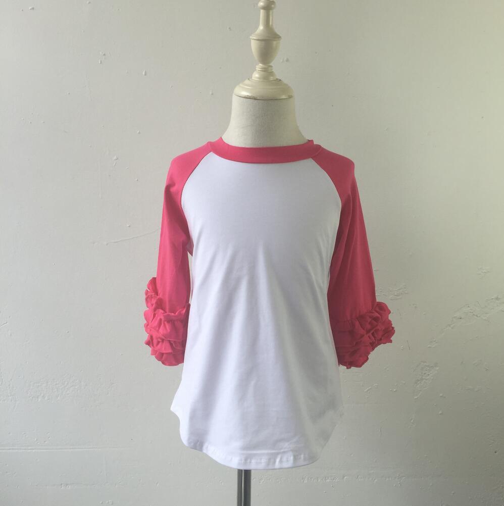2016 new style shirts wholesale bulk plain white t shirts china ruffle raglan t shirts kids ruffle blank tshirts for printing