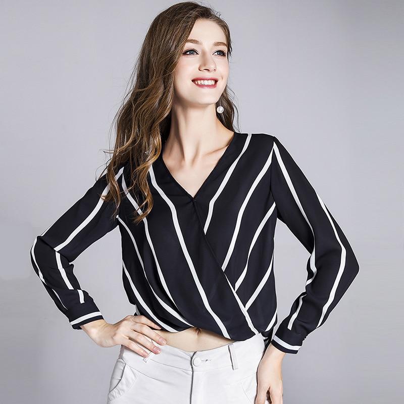 100% Silk Blouse Women Shirt Simple Design Striped Cross V Neck Long Sleeves Irregular Hem Office Work Top New Fashion 2018