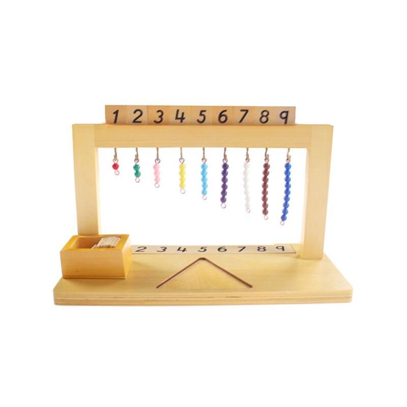Montessori de madera Material de matemáticas Montessori percha de cuentas de Color escaleras 1-9 juguetes educativos de aprendizaje preescolares para niños MG2864H