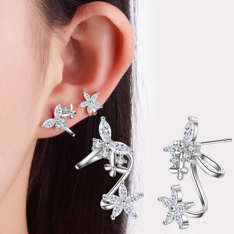 ¡Oferta! Pendientes de moda mariposa brillante cristal mujer 925 Plata de Ley ladiesstud joyería al por mayor Regalo de Promoción