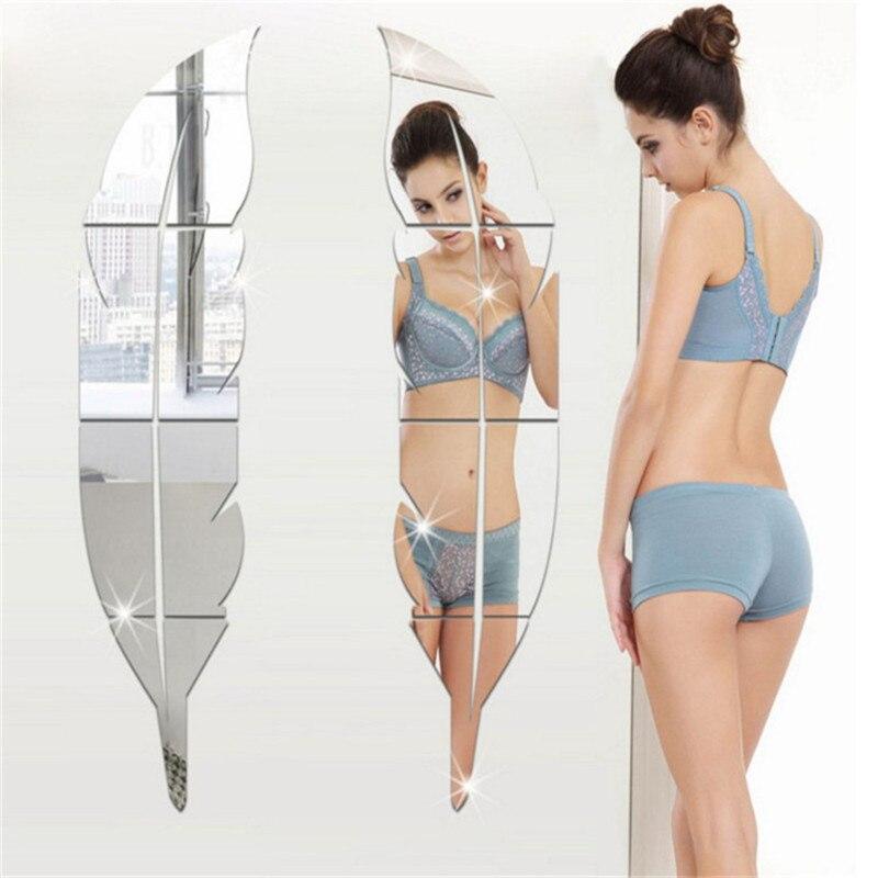 Nueva pegatina acrílica 3D para espejo, adhesivos plateados removibles, arte DIY para el hogar, sala, dormitorio, decoraciones