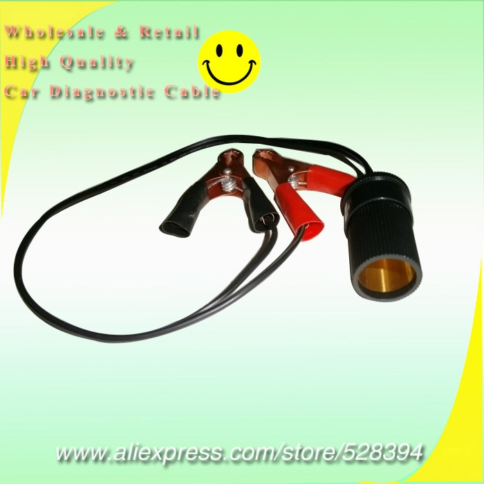 10% Off 50pcs 12 volt battery clip on accessory socket power outlet 12V cigarette lighter Crocodile Clip Car Cable Connector
