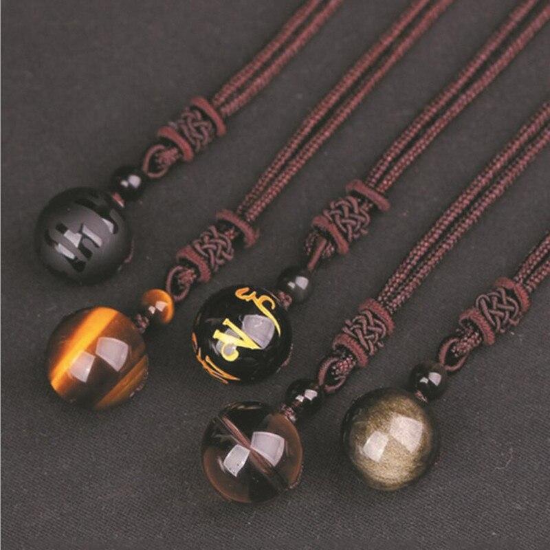Natürliche Stein 16mm Schwarz Obsidian Tigerauge Stein Anhänger Übertragen Glück Amulett Kristall Anhänger Halskette