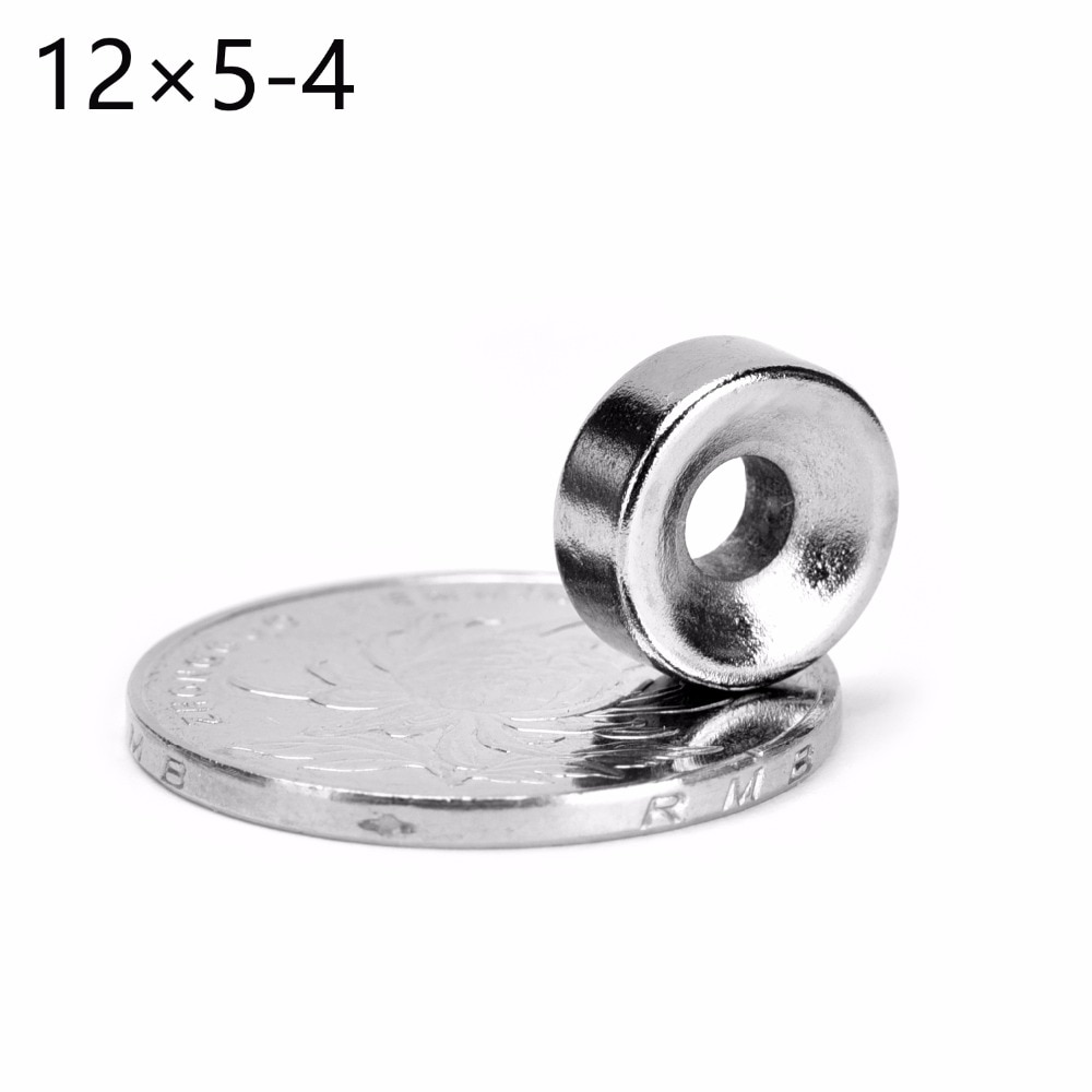 Venta al por mayor 10 Uds redondos avellanados anillo magnético 12mm x 5mm Agujero 4mm raras tierra de neodimio 12*5mm N50 gran oferta