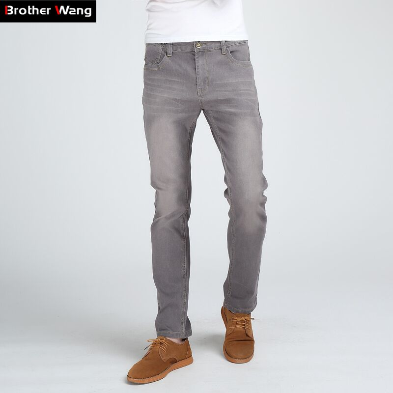 Brother Wang Jeans ajustados de moda para hombre de alta calidad elásticos grises Skinny Leisure Jeans ropa de marca