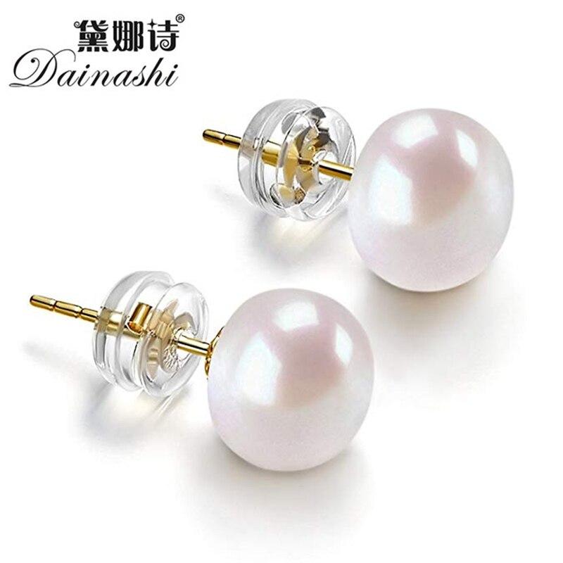 Dainashi, высокое качество, серебро 925 пробы, золотой цвет, 8-9 мм, круглый пресноводный жемчуг, серьги-гвоздики для женщин, подарок на день рождения, хит продаж