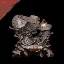 Large TOP COOL HOME OFFICE company SHOP Talisman Money Drawing Auspicious Arowana Golden Fish RUYI FENG SHUI bronze art statue