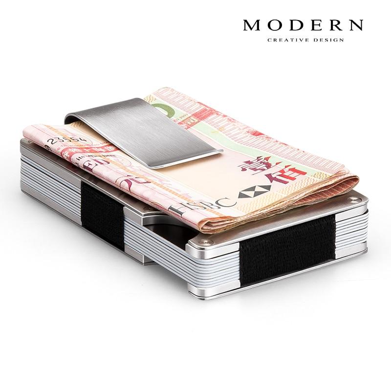 Portatarjetas aéreo de aluminio de marca moderna, tarjetero antirrobo, pinza para dinero, billetera elástica para hombre, Mini organizador de billetera, bloqueo Rfid