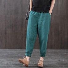 ¡Novedad! pantalones de verano para mujer de talla grande, sueltos, de lino y algodón, hasta el tobillo, cintura elástica, pantalones harén informales D46