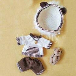 1 Set 1/12 Urso Hat + Shorts + T-shirt Roupas para OB11 11 Obitsu Boneca Outfits Vestuário Acessórios Do Brinquedo