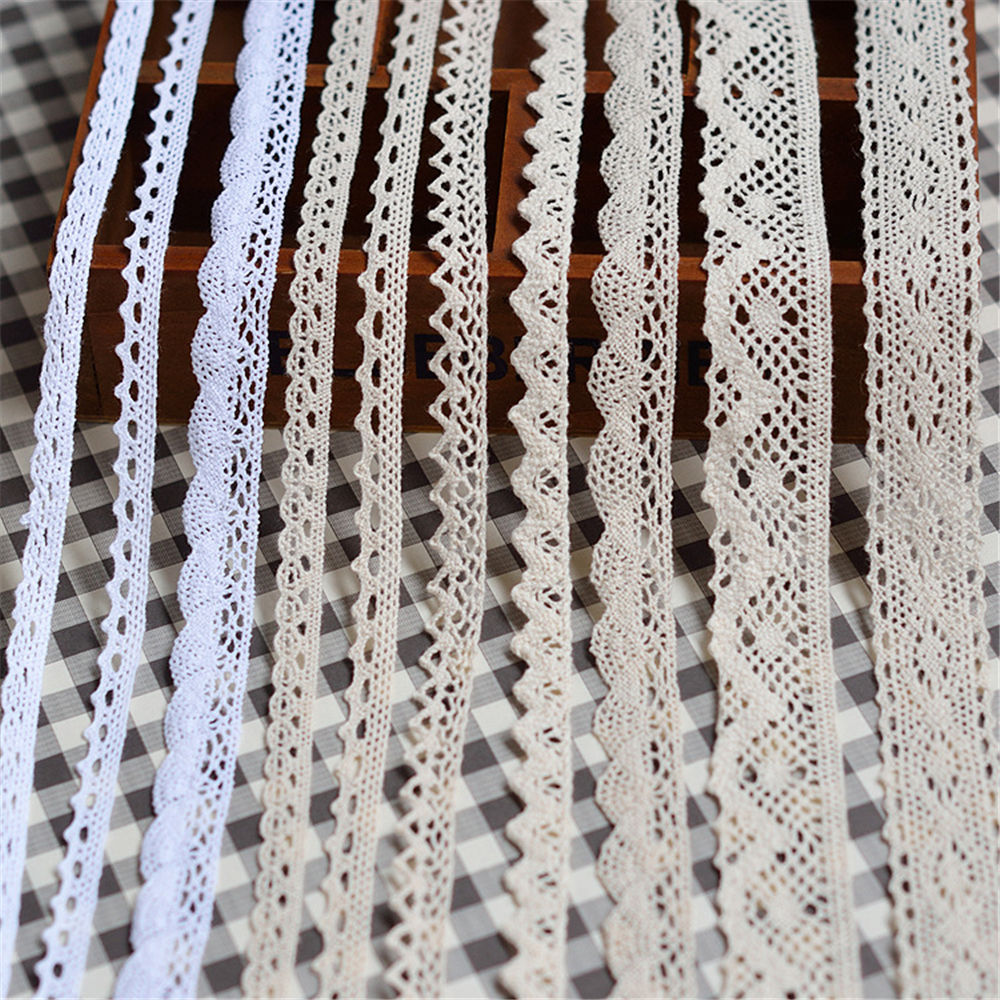 5 Yard Vintage Cotton Crochet Lace Trim Fabric Ribbon Sewing Handmade Craft Tatt Ivory DIY  Craft Supplies Accessories