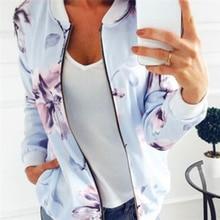 Spring Autumn Floral Print Bomber Jacket Women Long Sleeve Basic Baseball Women Jacket Coat Casual S