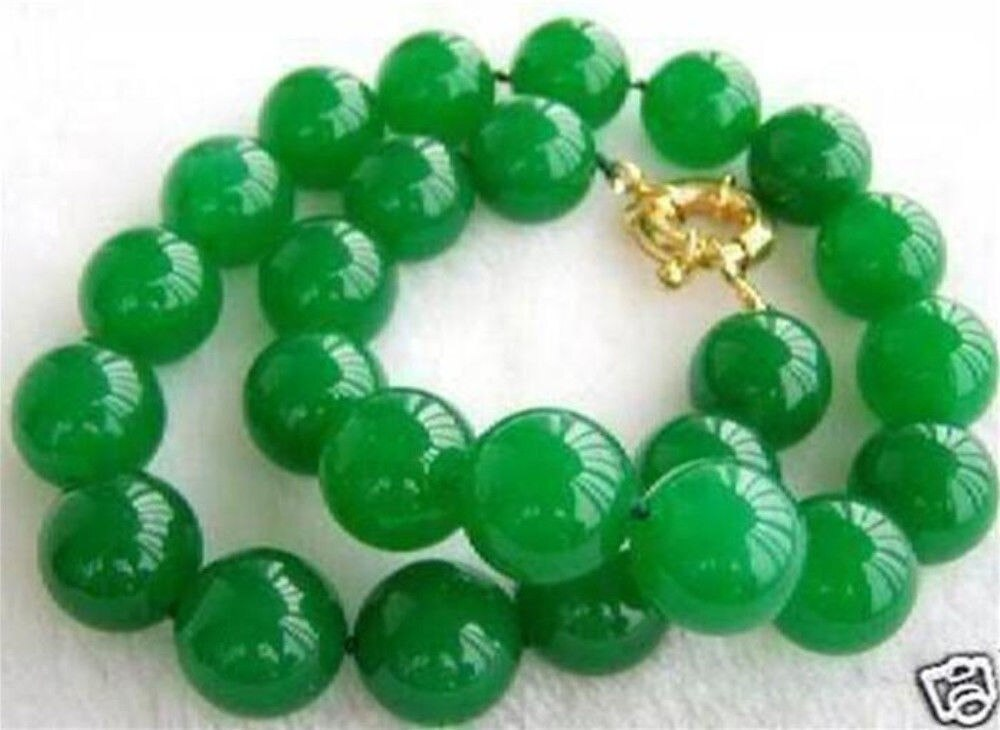 "Envío Gratis raro 10mm Natural hecho a mano JADE VERDE perlas redondas de piedra preciosa collar de 17 ""AAA"