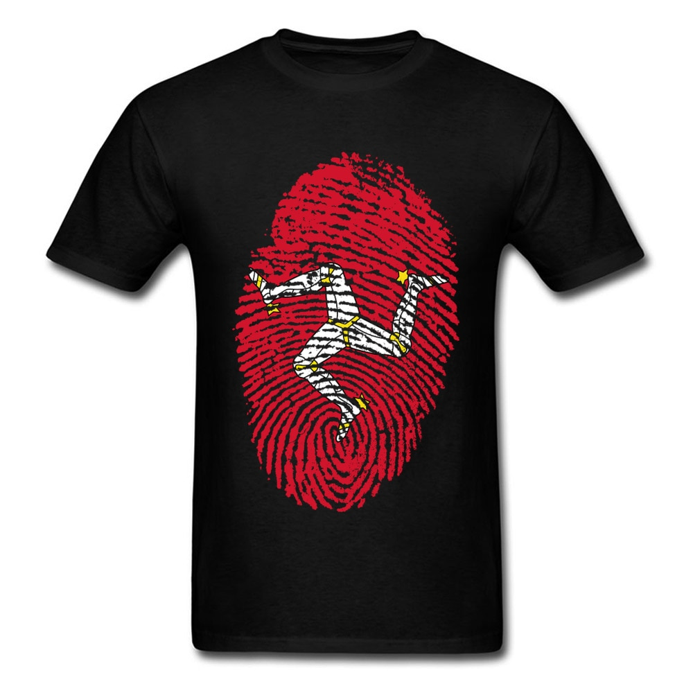 Isle Of Man TT Fingerprint T Shirt Mens Tshirt Cotton T-shirt Black White Red Clothing Racer Top Game Tee Vintage Style