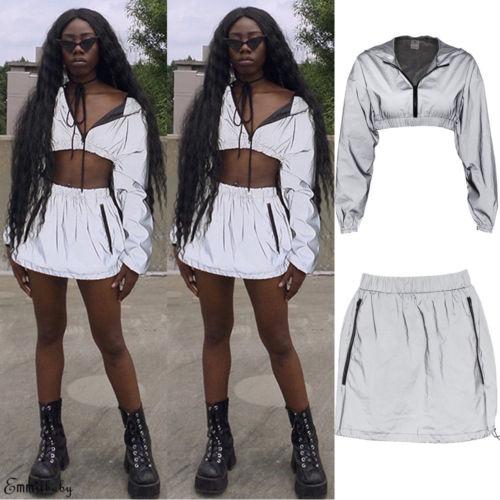Sexy Women 2PCS Bodycon Reflective Zip Crop Top Skirt Set Clubwear Dress Party