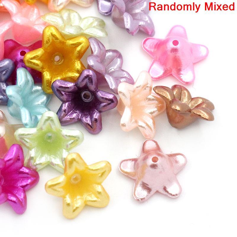 200 Uds Doreen Box cuentas espaciadoras de flores acrílicas de colores mezclados al azar para DIY accesorios de joyería 13x13mm, agujero 1mm