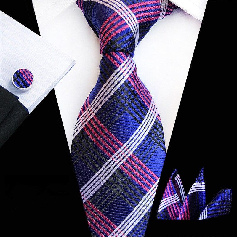Mens Conjunto Gravata 2019 Jacquard De Seda Bolso Laços Abotoaduras Quadrados Moda Floral Listras Xadrezes 8CM Corbatas Laços para Homens preto