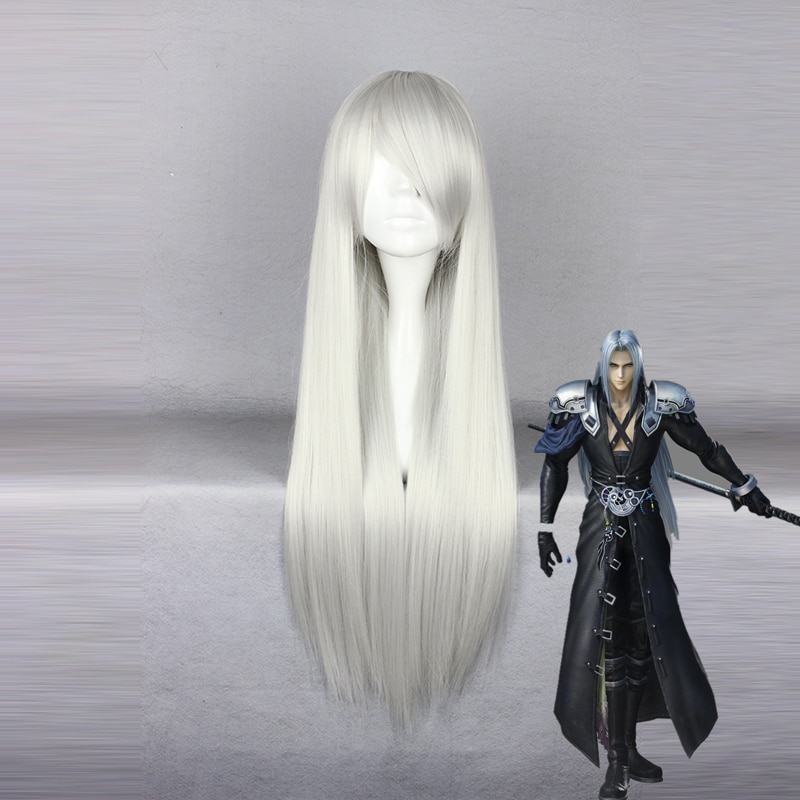 Jogo Cosplay Final Fantasy Sephiroth Peruca Cosplay Resistente Ao Calor Peruca de Cabelo Sintético do Dia Das Bruxas Perucas Do Partido Anime Cosplay Peruca