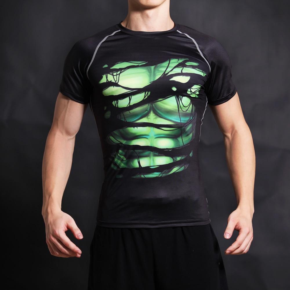 Compression stretch short-sleeved superhero T-shirt hulk 3D printing fitness t-shirt men's role-playing bodybuilding clothing