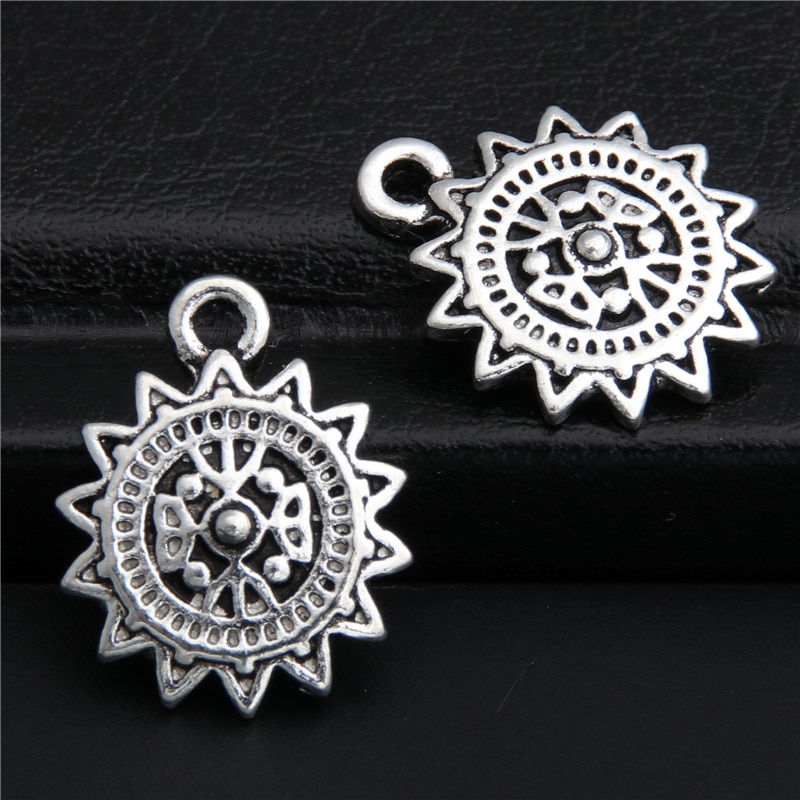 30 Uds tibetano de Color plata abalorios del sol colgante para collar de accesorios de joyería DIY hecho a mano artesanía A2822