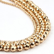 AAAA pierre naturelle or clair hématite perles entretoise charme lâche perles à facettes 4/6/8/10mm pour la fabrication de bijoux bracelet à bricoler soi-même