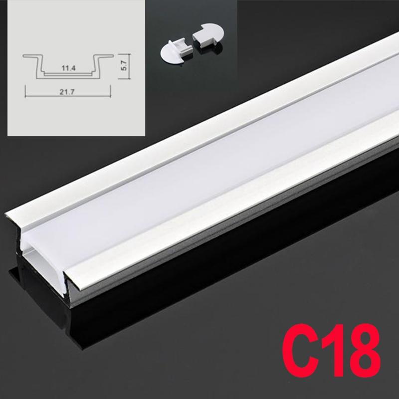 C18 5 Sets 50cm U Shape Recess LED Aluminum Channel System With Diffuse Cover End Caps Aluminum Profile for LED Bar Lights