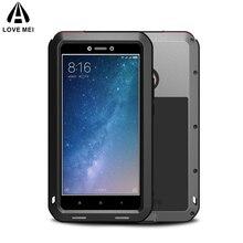 Amor mei para xiaomi mi max 2 caso capa de luxo de alumínio duro silicone à prova de choque caso do telefone armadura para xiaomi max2 capa traseira