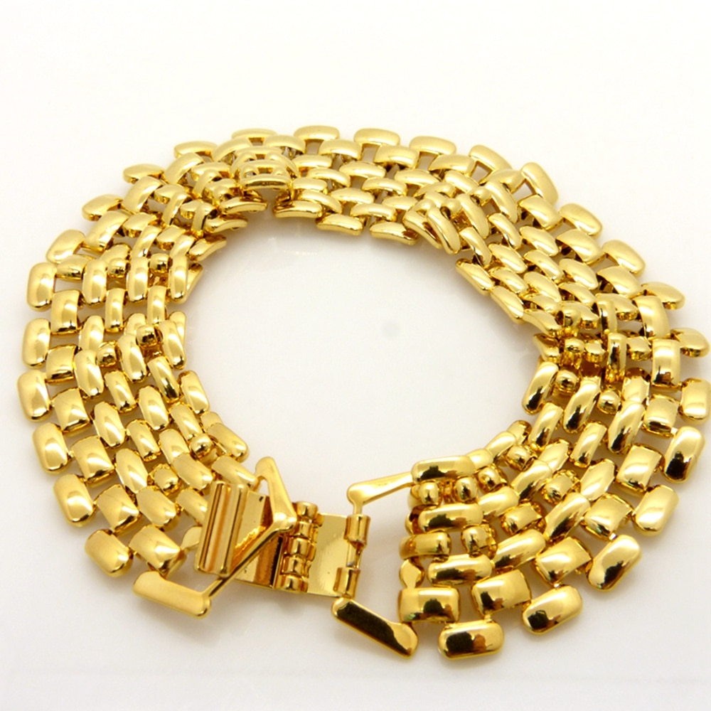 Pulsera de malla lisa, oro amarillo, pulsera de 20mm de ancho, cadena para la muñeca para hombres y mujeres, 8,3 pulgadas