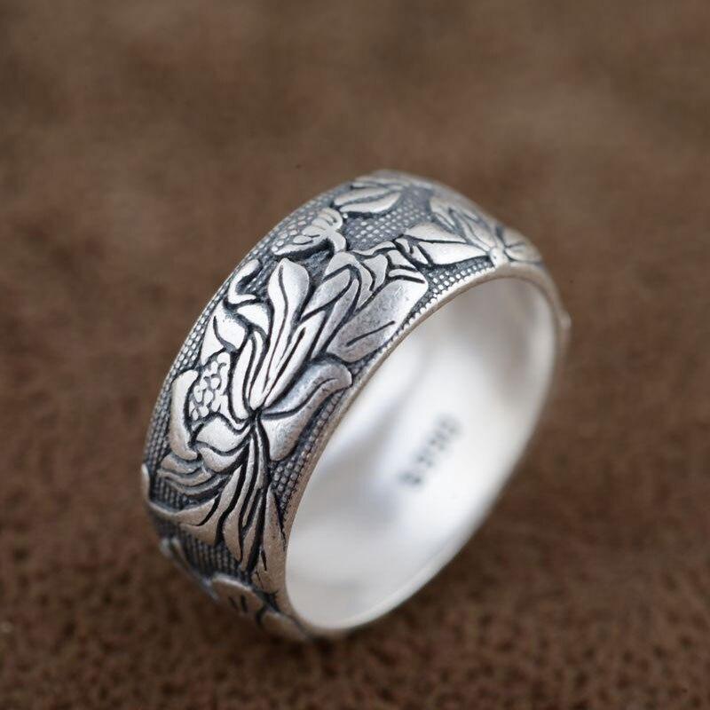 FNJ 925 пробы Серебряное кольцо цветок anillos панк удача романтические S990 тайские серебряные кольца для мужчин и женщин ювелирные изделия Большой размер