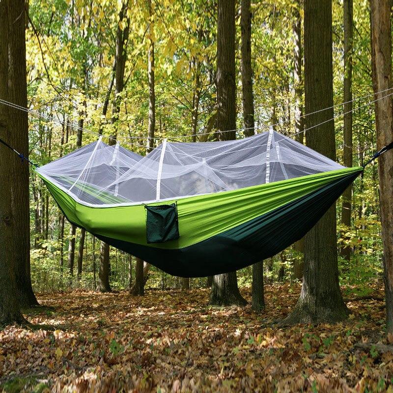2 pessoa ao ar livre mosquito net parachute hammock acampamento pendurado cama de dormir balanço portátil cadeira dupla hamac verde do exército