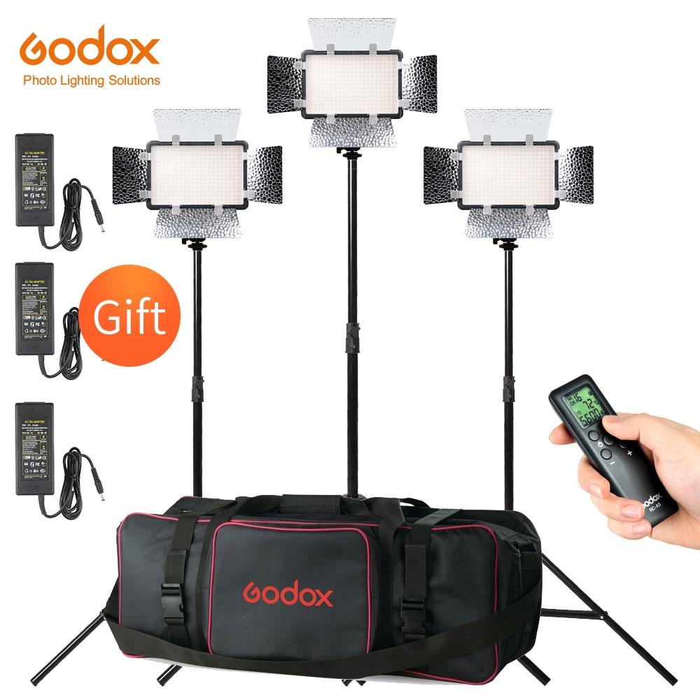 Free DHL 3X Godox LED308C II 3300-5600K Video Light with AC Adapter + 200cm Light Stand + CB-05 Carry Bag Video Studio Lights
