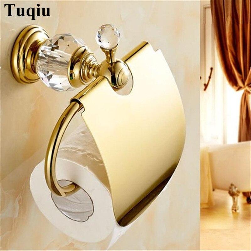 Soportes de papel Latón dorado de cristal sólido/portarrollos de papel cromado soporte de papel higiénico porta pañuelos accesorios de baño