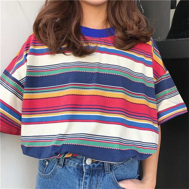 Camisetas de mujer túnica japonesa Harajuku Ulzzang Color fresco rayas Arco Iris camiseta femenina Kawaii Coreano Tops para mujer