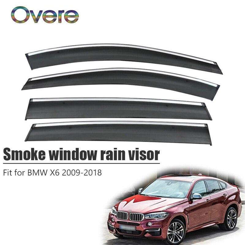 OVERE nueva 1Set humo ventana visor de lluvia para BMW X6 2009, 2010, 2011, 2012, 2013, 2014, 2015, 2016, 2017, 2018 deflectores Accesorios