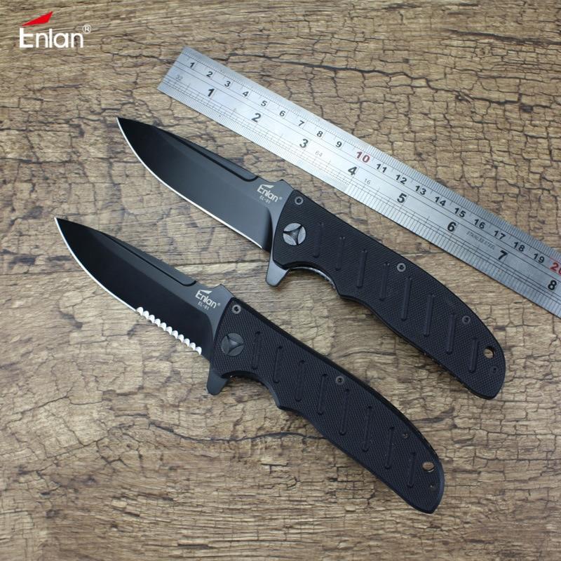Enlan EL-01B 8Cr13Mov cuchilla negra G10 mango cuchillo plegable al aire libre Camping caza supervivencia de Bushcraft EDC Navajas de bolsillo EL-01BA