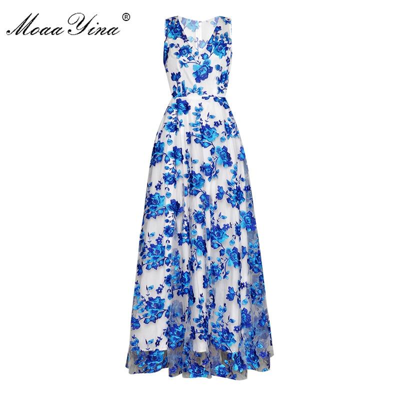 MoaaYina Fashion Designer Runway dress Spring Summer Women Dress V-neck blue Flower Embroidery Prom Party Noble Elegant Dresses
