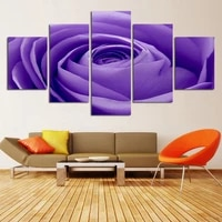 modern home wall art decor unframed modular pictures 5 pieces romantic purple rose flower hd print painting canvas for room